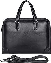 Men's Full-Grain Leather Waterproof Messenger Bag Briefcase for 14 inch Laptop Size Medium (Black)