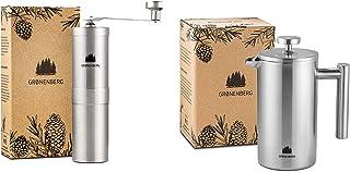 Groenenberg Spar-Pack 4 | Kaffekvarn manuell fransk press rostfritt stål 600 ml | Handkaffekvarn | Kaffebryggare