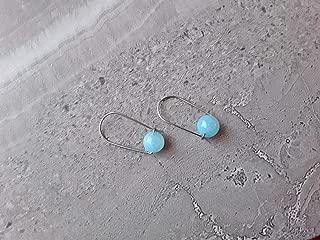 Sky Blue Quartz Modern Hoop Earrings Stainless Steel