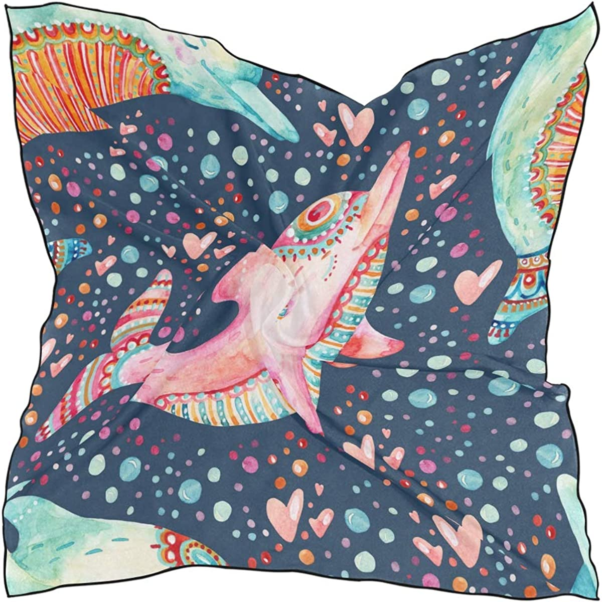 XLING Fashion Square Scarf Watercolor Lovely Ocean Sea Dolphins Lightweight Sunscreen Scarves Muffler Hair Wrap Headscarf Neckerchief for Women Men