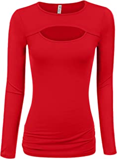 Womens Keyhole Top Short and Long Sleeve Tops Reg and Plus Size- Made in USA