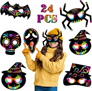 24 Pack Magic Scratch Paper Art Masks Set for Kids Rainbow Painting DIY Crafts Black Supplies Coloring Kits for Halloween ...