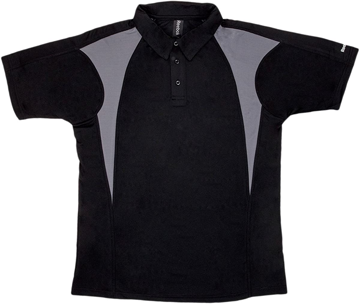 Reebok Men's Playdry Prism Performance Polo, Black/Graphite, Large