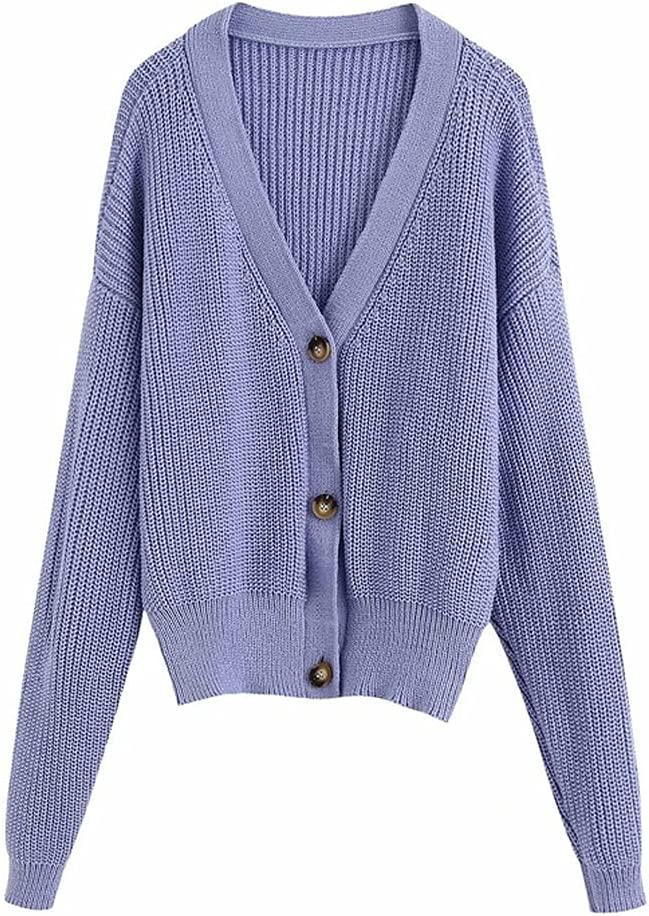 LYYQH Women 67% OFF of fixed price Casual Single Breasted Purple Limited price sale Summer Sweater Female