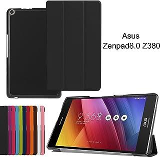 Asng ASUS ZenPad 8.0 Z380KL / Z380C / Z380M / Z380KNL ケース 三つ折りスタンドカバー 超薄型 超軽量 マグネット オートスリープケース PU レザーカバー (ブラック)