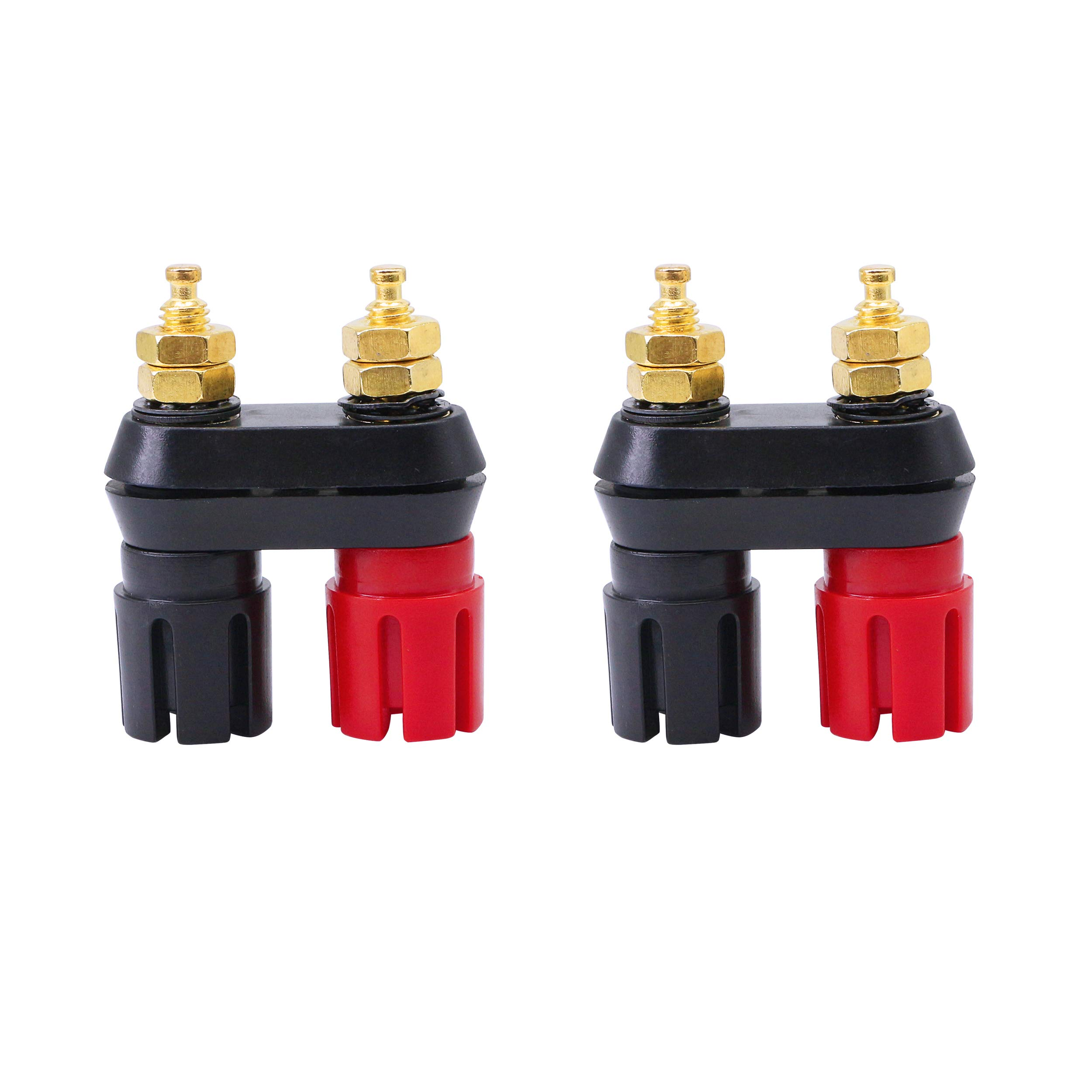 Conwork 4-Pack Pure Copper Binding Post for Amplifier Speaker Terminal Connector 4mm Banana Plug Transparent Plastic Cover