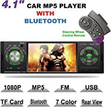 LSLYA 4.1inch HD Single DIN Bluetooth Car Stereo Audio Radio FM Receiver 1080P Video Player MP3/USB/SD/TF/AUX/FM
