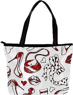 Lorvies - Borsa a tracolla da donna, modello di scarpe e accessori alla moda, colore: bianco e rosso