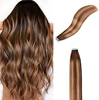AMABAOBAO #4 27 4 Tape in Hair Extensions Chocolate Brown mixed Caramel Blonde Color Ombre 100% Remy Human Hair Extensions...
