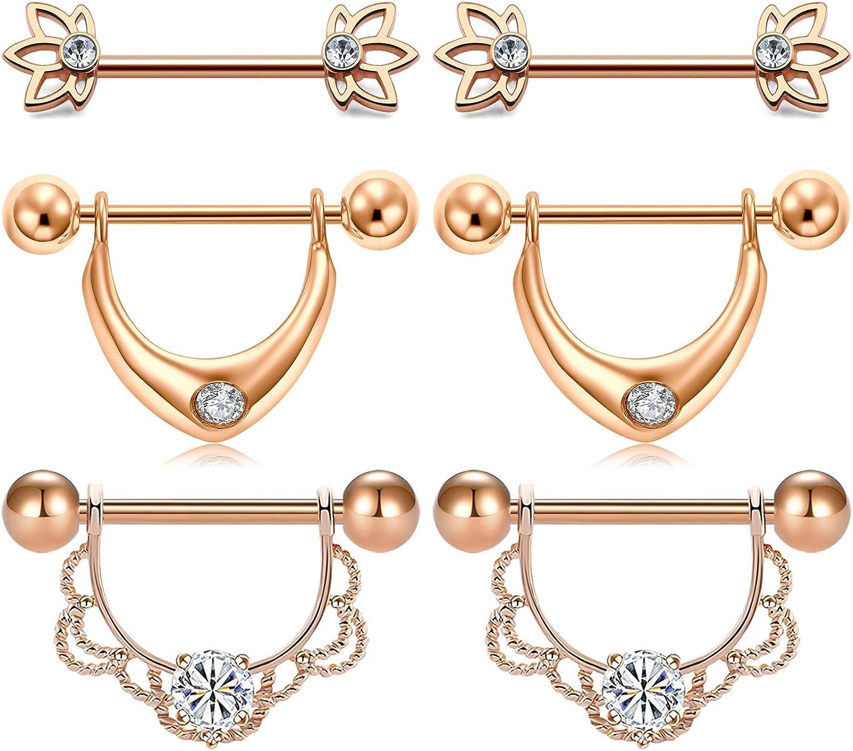 JFORYOU Surgical Steel 14G Nipple Rings Nipplerings CZ Filigree Dangle Nipple Shield Ring Lotte Flower Barbell Cute Nipple Piercing for Women