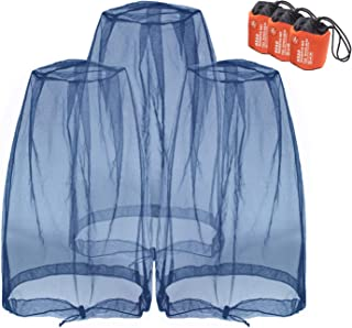 Mosquito Head Nets Gnat Repellant Head Netting for No See Ums Insects Bugs Gnats Biting Midges from Any Outdoor Activities, Works Over Most Hats Comes with Free Stock Pouches (3pcs, Navy Blue)