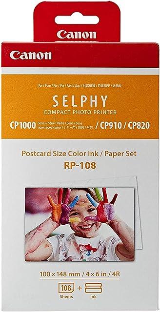 Canon RP-108 - Papel fotográfico y Cartucho de Tinta Original para Selphy CP Color Blanco