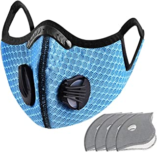 Carrfan- Dust Mask with 5 Replaceable Inner Pads Cycling Running Outdoor Face Mask Training Mask Dustproof Carbon Filtration Workout Running Motorcycle Cycling Mask