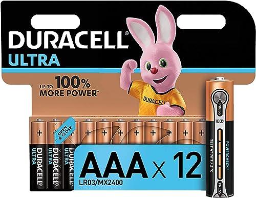 Duracell Ultra, lot de 12 piles alcalines Type AAA 1,5 Volts LR03 MX2400