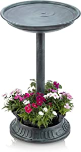 Alpine Corporation Plastic Birdbath with Planter - Outdoor Decor for Garden, Patio, Deck, Porch - Green