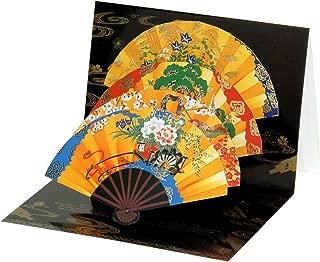 AAY48-1404 和風グリーティングカード/むねかた 立体 金箔 「飾り四季扇」 (中紙・封筒付)