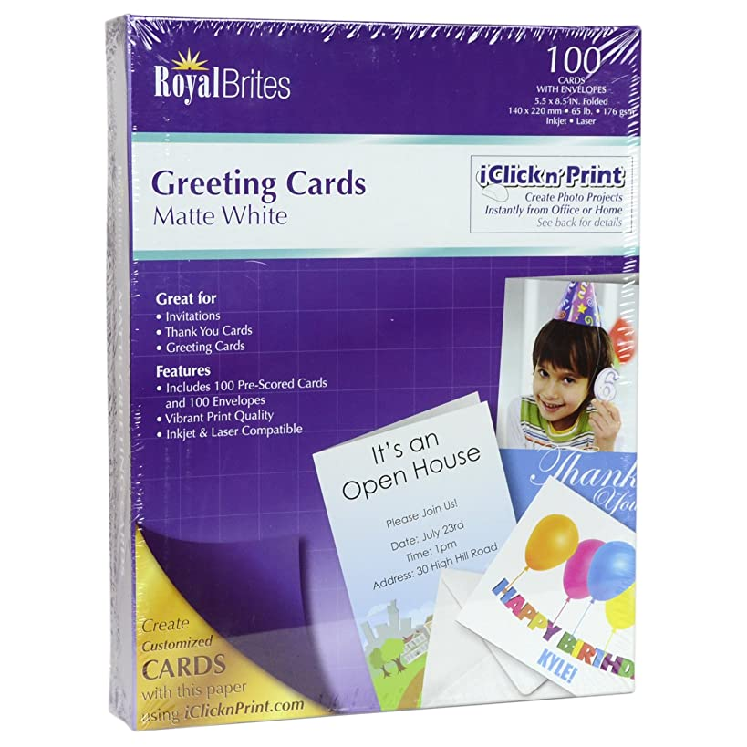 Royal Brites Blank Matte Greeting Cards with Envelopes, 5.5 x 8.5 Inches, White, 100-Sheet Pack (44824)