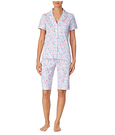 LAUREN Ralph Lauren Classic Knits Short Sleeve Notch Collar Bermuda Pajama Set (Multi Floral) Women