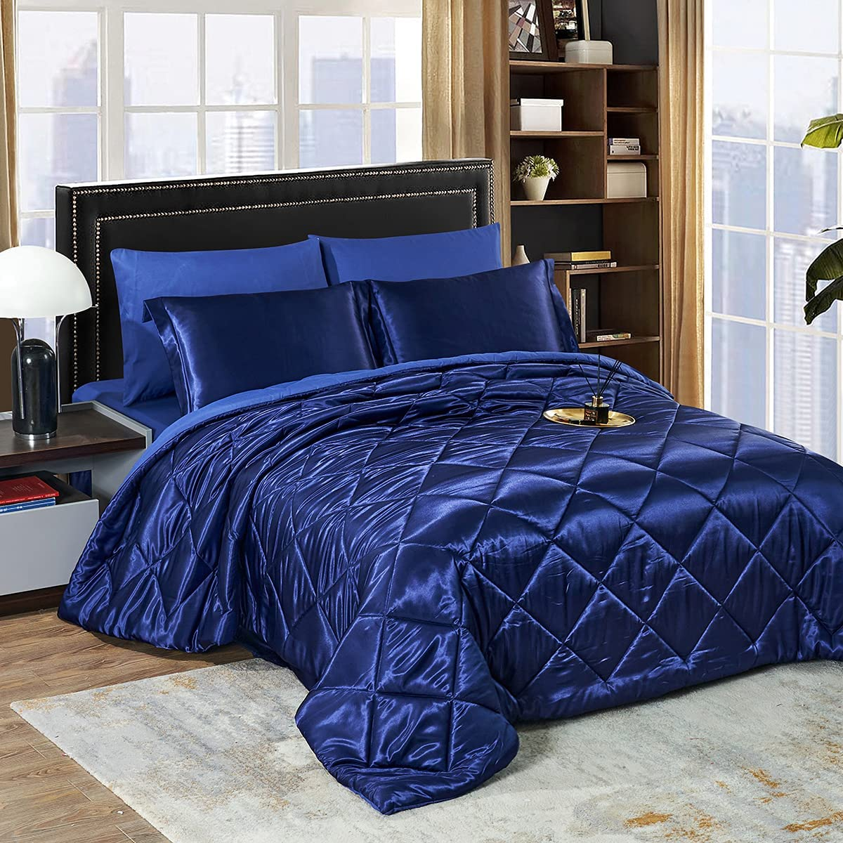 HAOK Luxury New color Max 52% OFF Solid Satin 8-Pieces Silky Set Comforter Bed