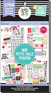 me & my BIG ideas Sticker Value Pack for Mini Planner - The Happy Planner Scrapbooking Supplies - Planner Basics Theme - Multi-Color & Gold Foil - For Projects & Albums - 30 Sheets, 1768 Stickers