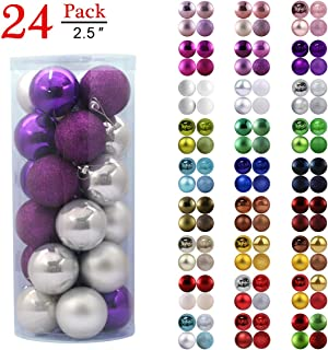 GameXcel Christmas Balls Ornaments for Xmas Tree - Shatterproof Christmas Tree Decorations Large Hanging Ball Purple & Silver 2.5