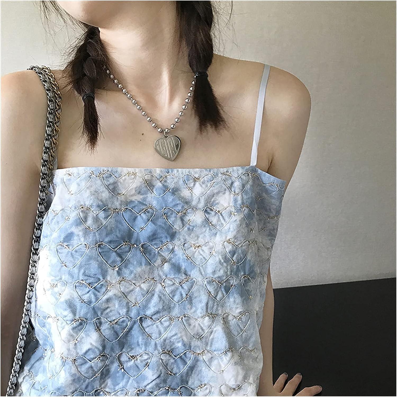 YTXR Blue Love Shirt 5 popular Suspenders Luxury goods Sense Retro Design Niche Summer