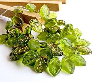 50 pcs Mix of Green Czech Glass Leaf Beads 12mm