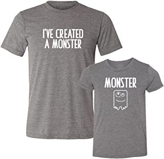 We Match! - I've Created A Monster & Monster - Matching Two Triblend T-Shirts Set