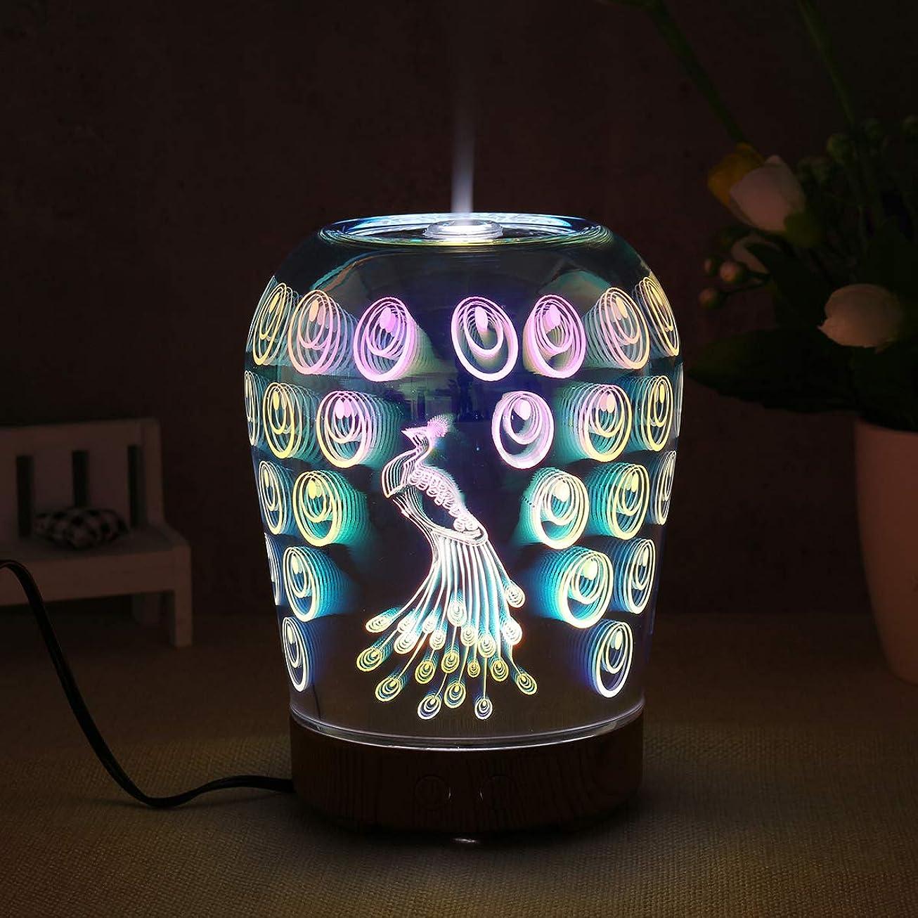 メールを書くあそこ授業料LED Essential Oil Aroma Diffuser Peacock Glass Ultrasonic Humidifier Aromatherapy 3D Effect by Superjune 141[並行輸入]