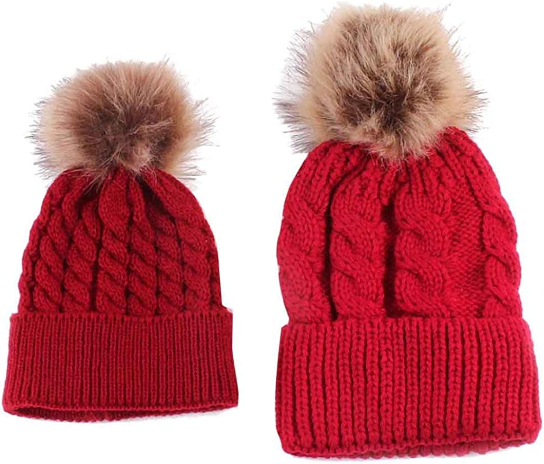 Simsly Winter Autumn Warm Bobble Hat Mother and Kids Faux Fur Soft Cap Cotton Cable Knit Ball Cap for Mom and Child White