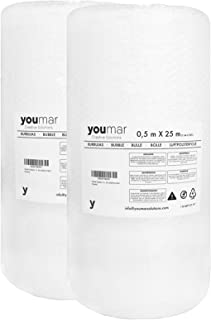 Youmar Solutions - Pack de 2 Rollos de Plástico de Burbujas (0,5 metros ancho 25 metros largo) en caja de 1 Metro muy útil para Mudanzas. Alta protección. Papel de burbujas de calidad europea.