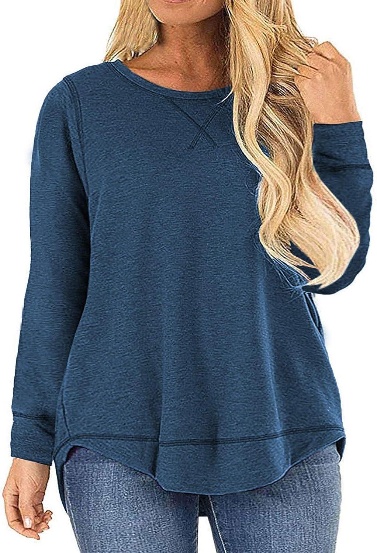 ROSRISS Womens Plus Size Tops Casual Loose Long Sleeve Side Split Tunics Shirts