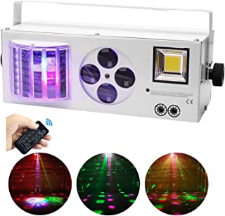 Mopoq Party Light Stage Lights 4 in 1 Mixed RGBW Lighting Effects LED Strobe Pattern Light by Rmote and DMX Music Controll...