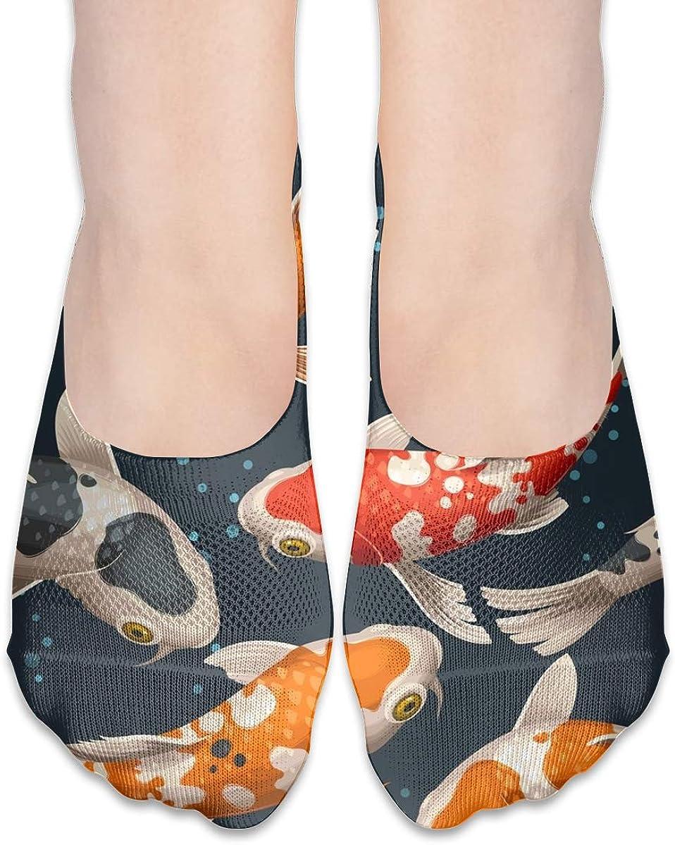 No Show Socks Women Men For Koi Carps Lucky Janpan Flats Cotton Ultra Low Cut Liner Socks Non Slip