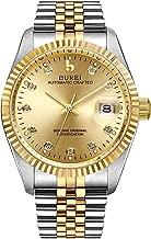 BUREI Men's Luxury Automatic Watch Two Tones Stainless Steel Dress Wrist Watches Self-Winding