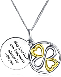 Suerte Que El Amor Felicidad Estén Siempre Con Vosotros Colgante Collar Mujer Inspiración Para Graduación 2 Tono Plata