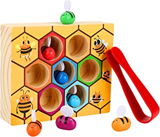 Kunmark Toddler Bee Hive Preschool Wooden Toys,Bee Toy, Toddlers for Baby Early Educational Toddler Montessori Game Motor Skills Toy