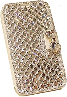 UnnFiko Galaxy Note 5 Wallet Case, Handmade Luxury 3D Bling Crystal Rhinestone Leather Purse Flip Card Pouch Stand Cover Case for Samsung Galaxy Note 5 (Crystal)