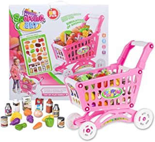 NATSUKAWA Rose Pink Large Shopping Day Grocery Cart – Toy Shopping Cart with Pretend Play Food Items – Realistic Kitchen A...