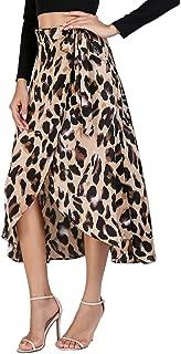 Women's Waist Knot Leopard Print High Waist Wrap Split Skirt