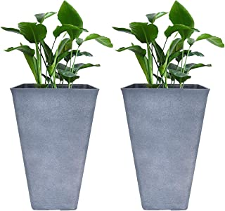 Tall Planters 26 Inch Large Flower Pots Pack 2, Indoor and Outdoor Patio Deck Resin Rectangular Planters, Gray