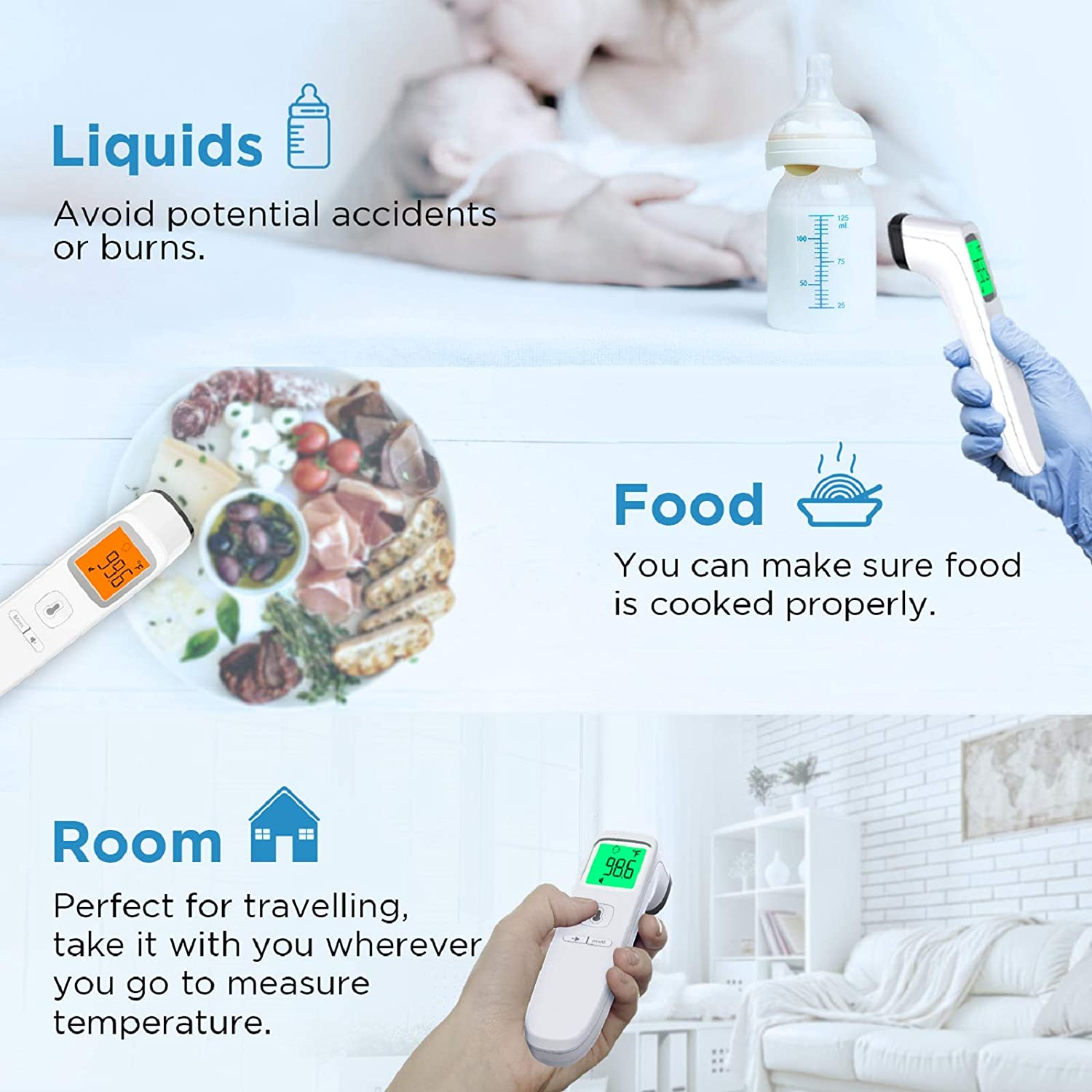 MAMI&BABI Non Contact Forehead Thermometer, Touchless Infrared Forehead Thermometer for Fever, Accurate Instant Infrared Thermometer with Fever Alarm and Memory Function for Adults Kid and Baby : Baby