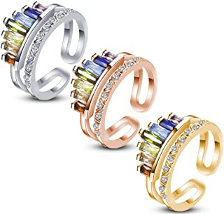 3 Pieces Rainbow Ring Double Band Ring, Adjustable Wide Band Stacking Rainbow Rings for Woman Meaningful Adjustable Openin...
