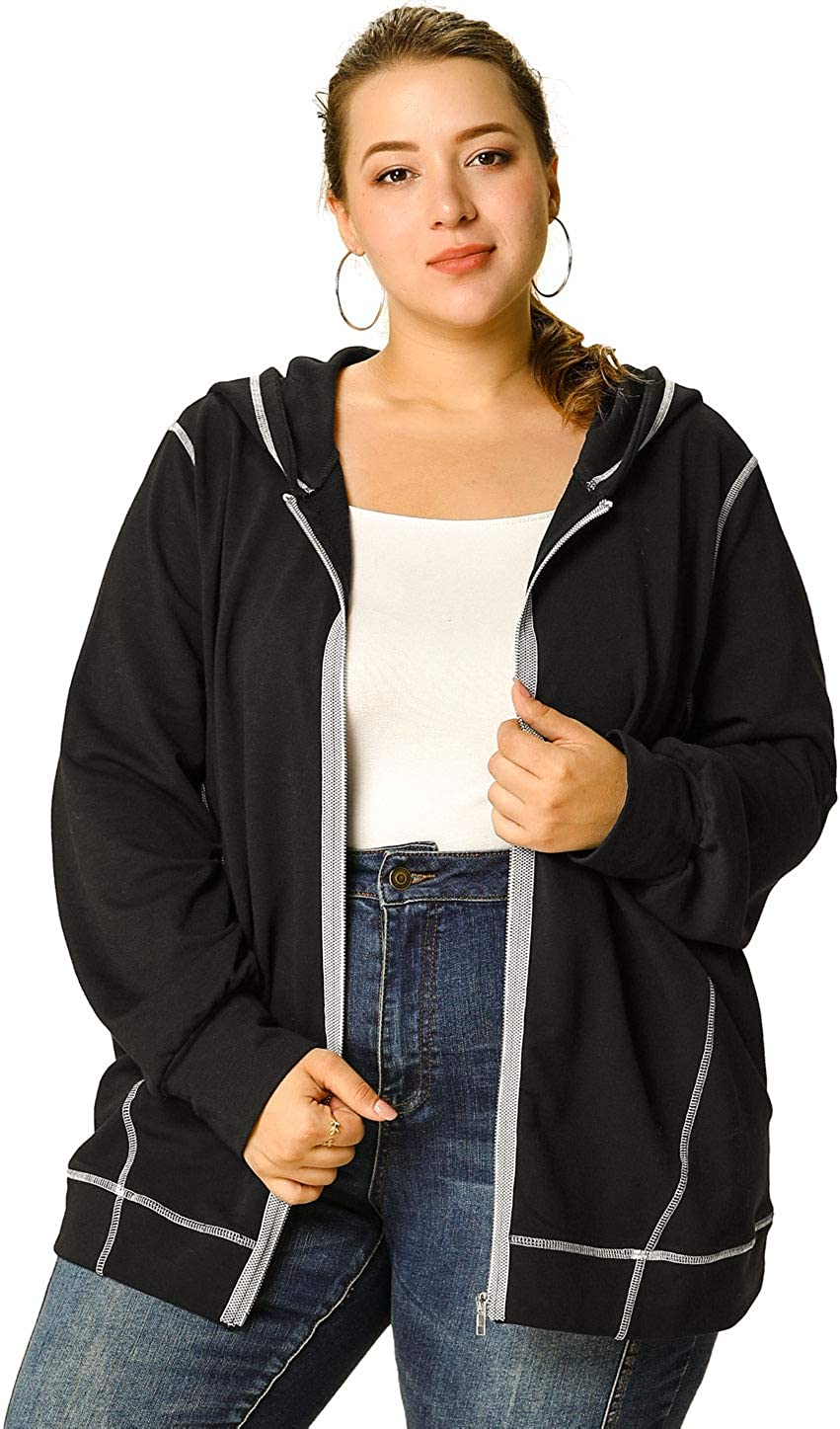 Agnes Orinda Women's Plus Size Hoodie Zip Front Long Sleeve with Pockets Casual Hoodies