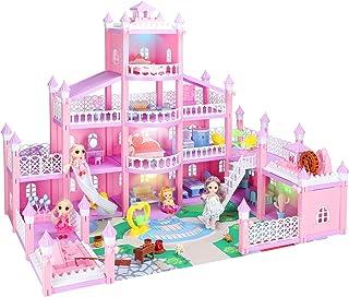 KAINSY Dockhus, dockhus för flickor, drömhus stort fyra våningar dockhus, blå med möbler och tillbehörssats inkluderar fyr...