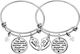 The Love Between Mother and Daughter is Forever Heart Charm Bangle Bracelets Mom Daughter Jewelry Gifts