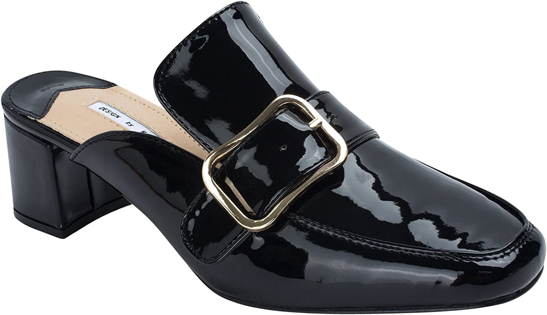 AnnaKastle Kara Womens Patent Heel Mule Slipper gold Buckle