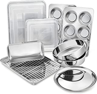 12-Piece Stainless Steel Baking Pans Set, P&P CHEF Kitchen Bakeware Set, Include Baking Sheet with Rack, Round/Square Cake...