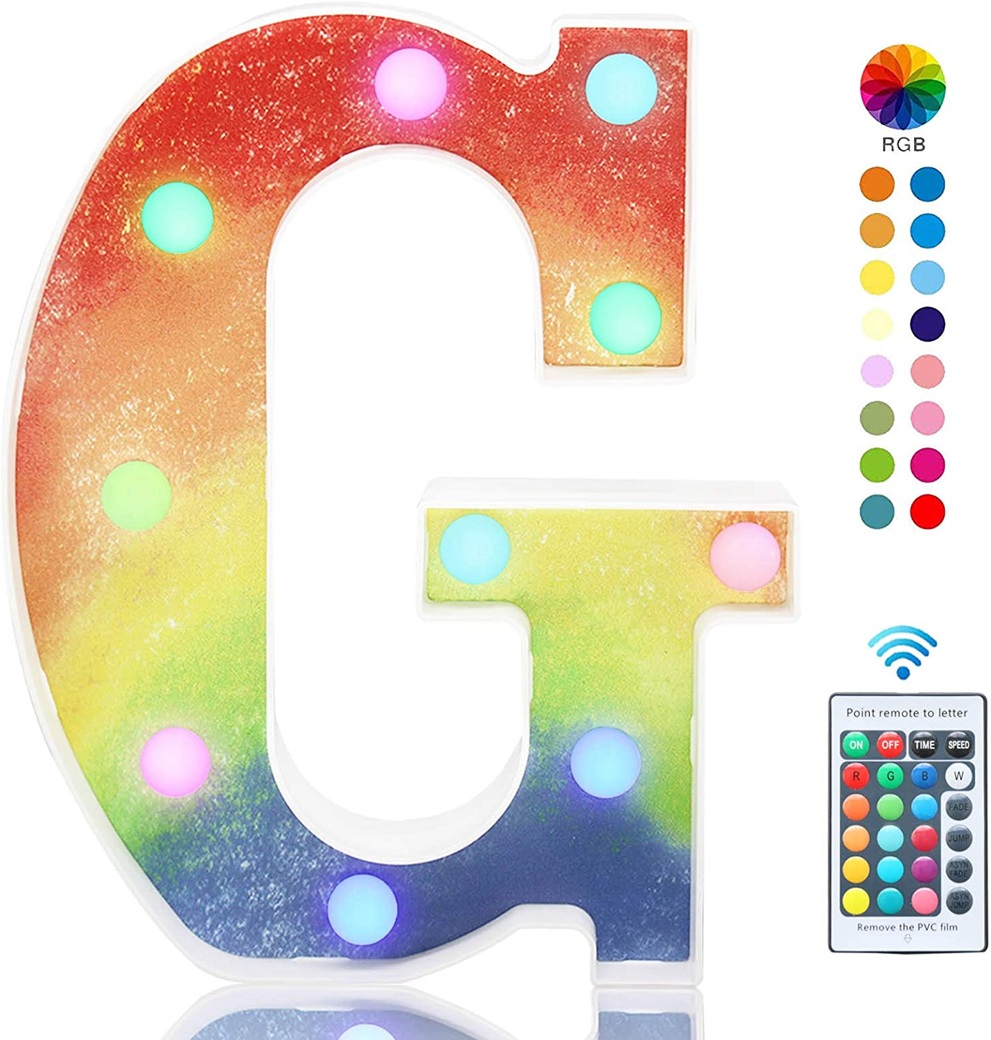 Pooqla Colorful LED Letter Lights with Remote, Light Up Multicolored Rainbow Letters, 16 Color Changing Battery Powered Night Light for Kids Wedding Birthday Party Christmas Home Decor, RGB Letter G