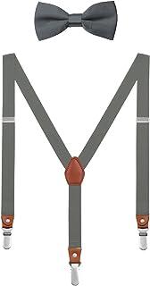 DEBAIJIA Scatola di Boutique Set Bretelle e Papillon per 1-8 Anni Bambino Y Forma 3 Clip 2.5 cm Larghezza Elastiche Regola...